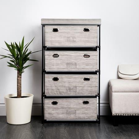 KSP Softstor '4-Drawer' Fabric Cabinet Linen Look (Grey)