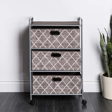 95000_KSP_Rollstor_'3_Drawer'_Fabric_Storage_Cart_with_Wheels__Graphic_Grey_White
