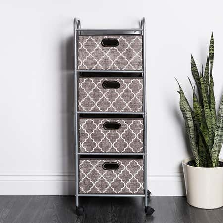 95001_KSP_Rollstor_'4_Drawer'_Fabric_Storage_Cart_with_Wheels__Graphic_Grey_White