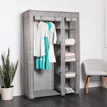 95003_KSP_Softstor_'Linen_Look'_Fabric_Wardrobe__Grey