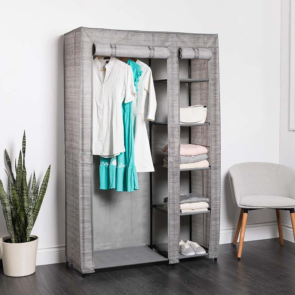 95003_KSP_Softstor_'Linen_Look'_Fabric_Wardrobe__Grey