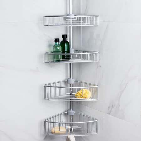 95148_KSP_Aluminum_'Paloma'_Tension_Bathtub_Corner_Shelf
