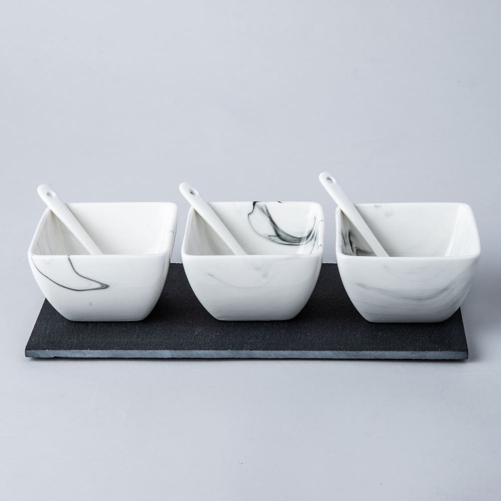 KSP Marble Porcelain Bowls with Tray and Spoons - Set of 7 (White/Grey)