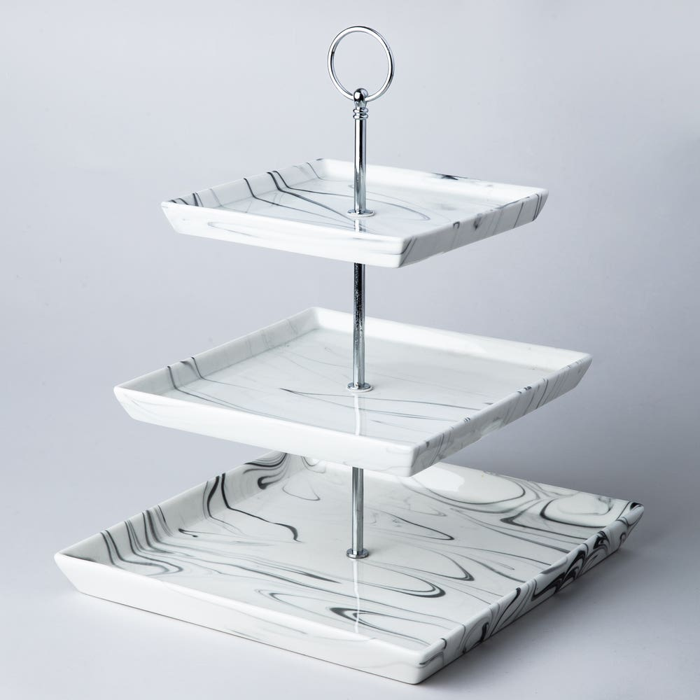 KSP Marble Porcelain Buffet Stand 3-Tier (White/Grey)