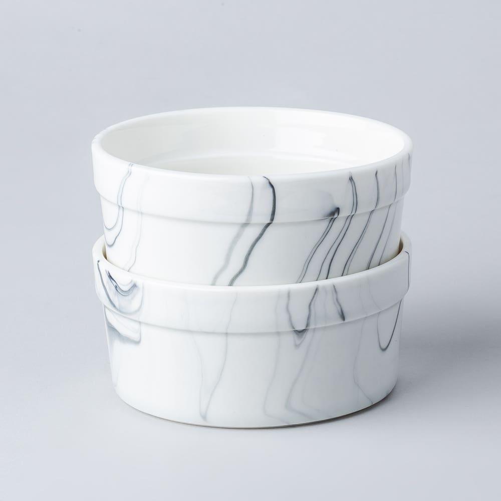 KSP Marble Porcelain Ramekin - Set of 4 (White/Grey)