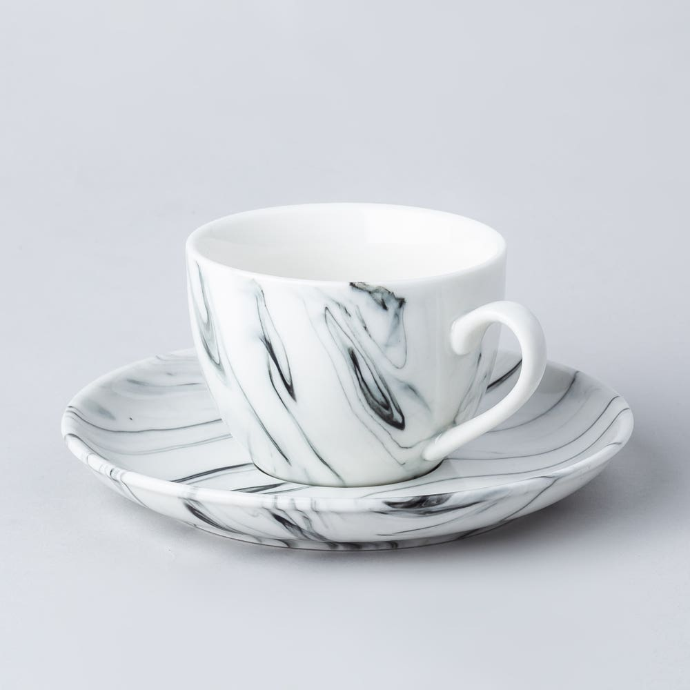 KSP Marble Porcelain Tea Cup with Saucer (White/Grey)