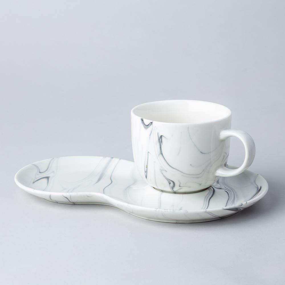 KSP Marble Porcelain Cup & Saucer (White/Grey)