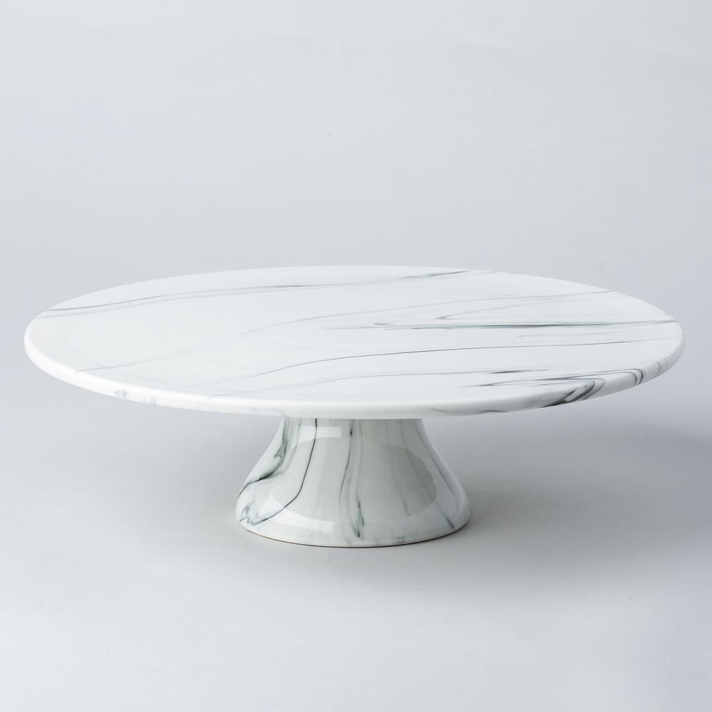 KSP Marble Porcelain Large Footed Cake Plate (White/Grey)