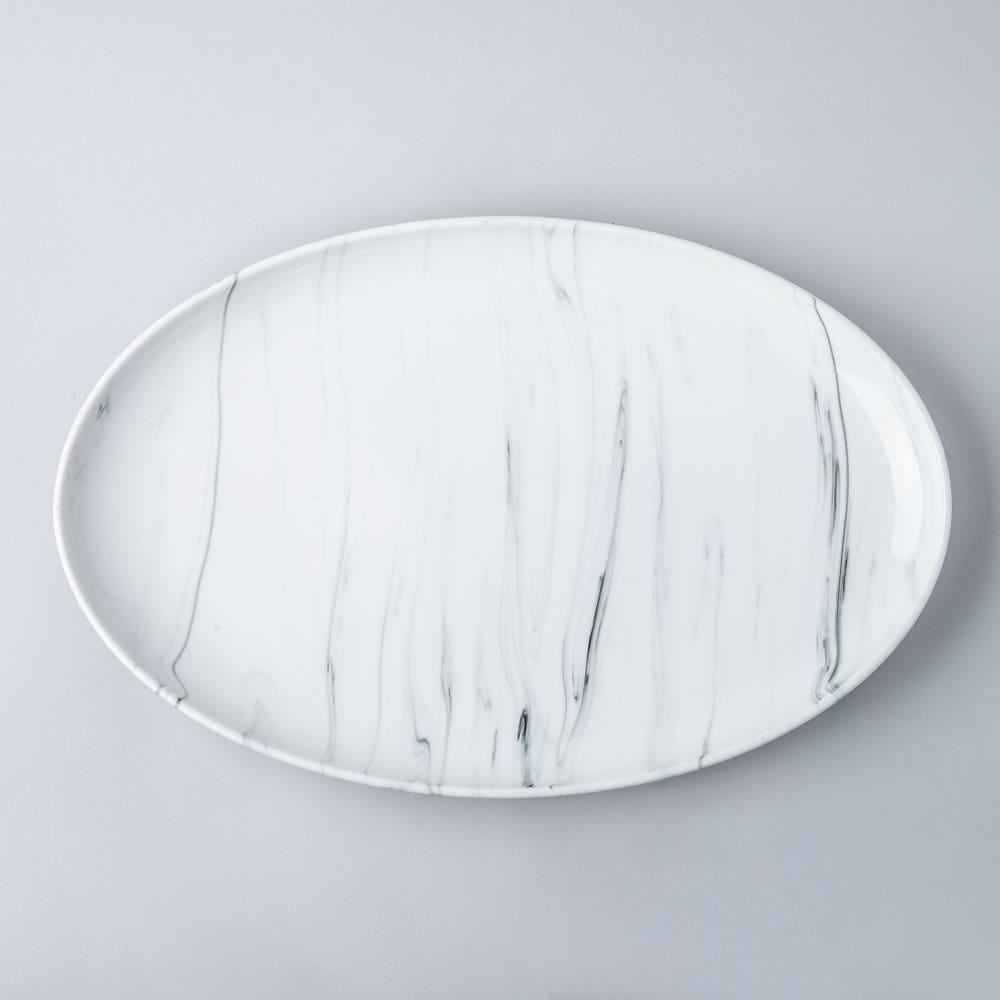 KSP Marble Porcelain Large Oval Platter (White/Grey)