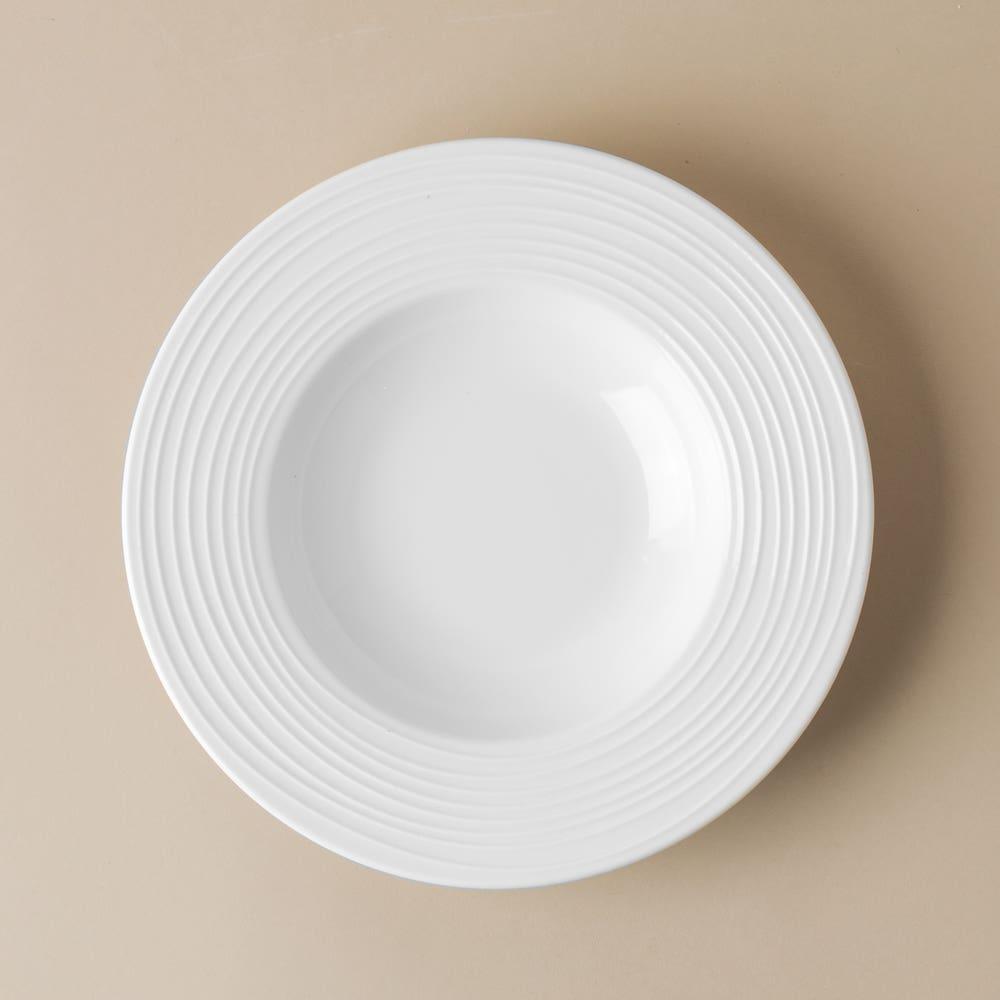 KSP A La Carte 'Rings' Porcelain Soup- Pasta Plate (White)