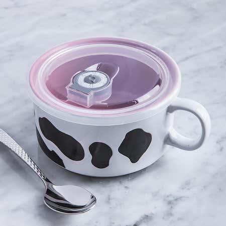 95986_Boston_Warehouse_Souper_Mugs_'Cow'_Stoneware_Mug_with_Lid__Multi_Colour