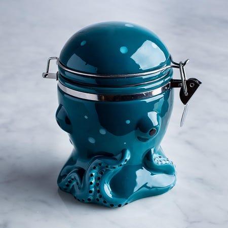 96012_Boston_Warehouse_Flea_Market_Shaped_'Octopus'_Ceramic_Jar__Blue