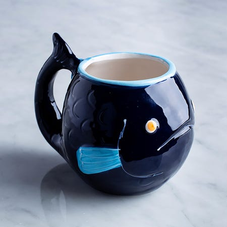 96021_Boston_Warehouse_Flea_Market_Shaped_'Blue_Fish'_Ceramic_Mug__Multi_Colour