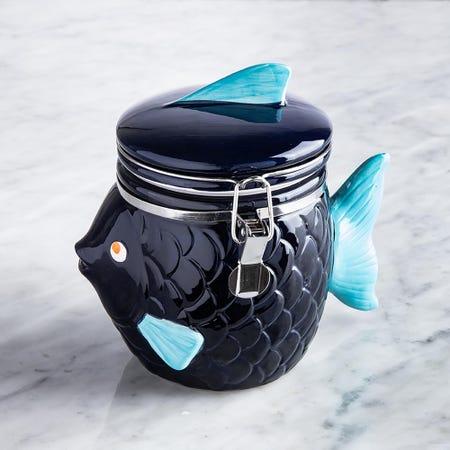 96022_Boston_Warehouse_Flea_Market_Shaped_'Blue_Fish'_Ceramic_Jar__Multi_Colour