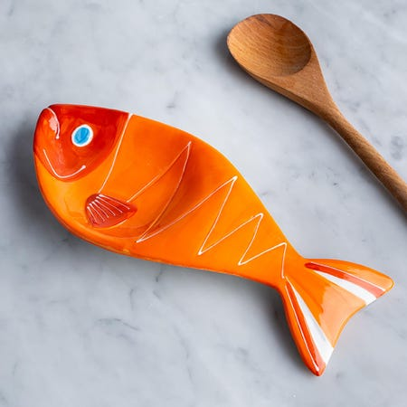 96026_Boston_Warehouse_Flea_Market_Shaped_'Orange_Fish'_Ceramic_Spoon_Rest