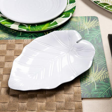 96382_KSP_Tropico_Melamine_Leaf_Shaped_Side_Plate__White