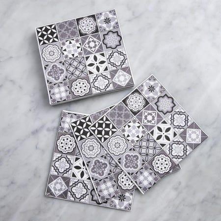 96533_Harman_3_Ply_'Spanish_Tile'_Paper_Napkin__Black
