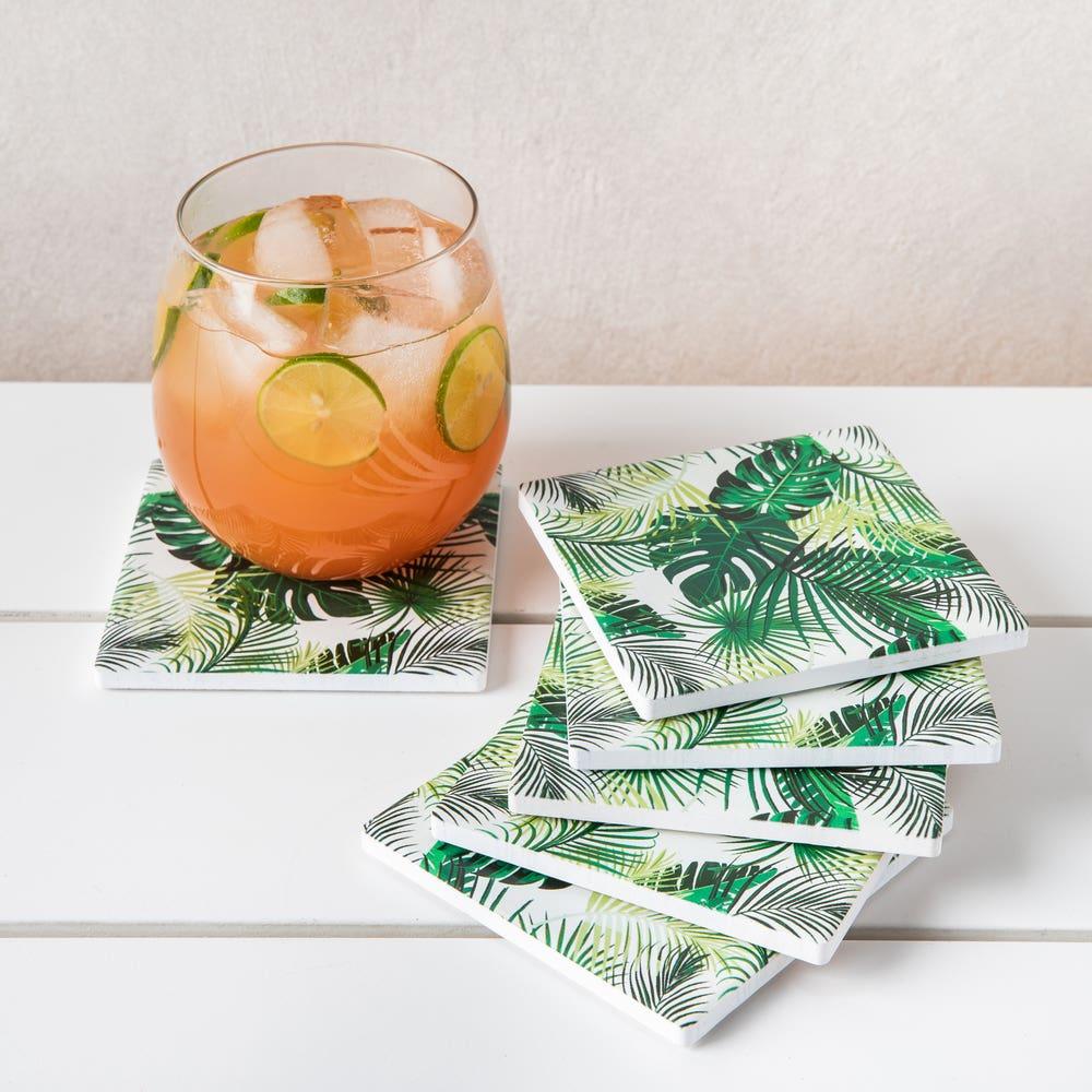 Harman Ceramic 'Palm Leaf' Printed Coaster - Set of 6 (Multi Colour)