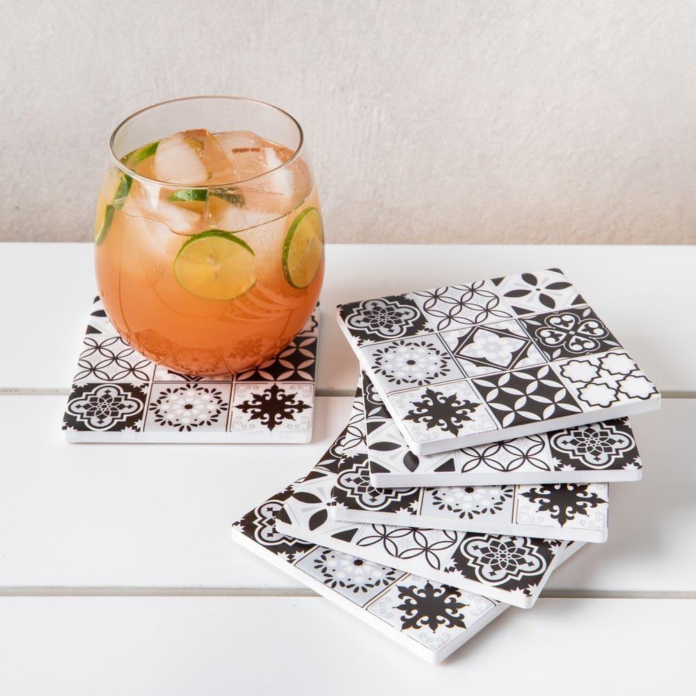 Harman Ceramic 'Spanish Tile' Printed Coaster - Set of 6 (Black)