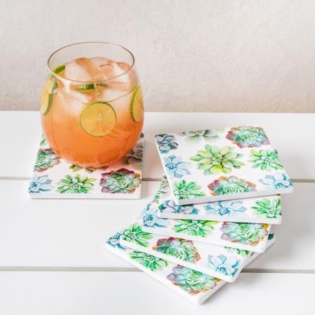 96550_Harman_Ceramic_'Succulent'_Printed_Coaster___Set_of_6__Multi_Colour