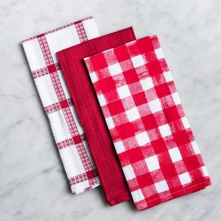 96579_Harman_'Watercolour_Check'_Cotton_Kitchen_Towel___Set_of_3__Red