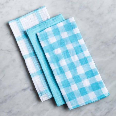 96581_Harman_'Watercolour_Check'_Cotton_Kitchen_Towel___Set_of_3__Aqua