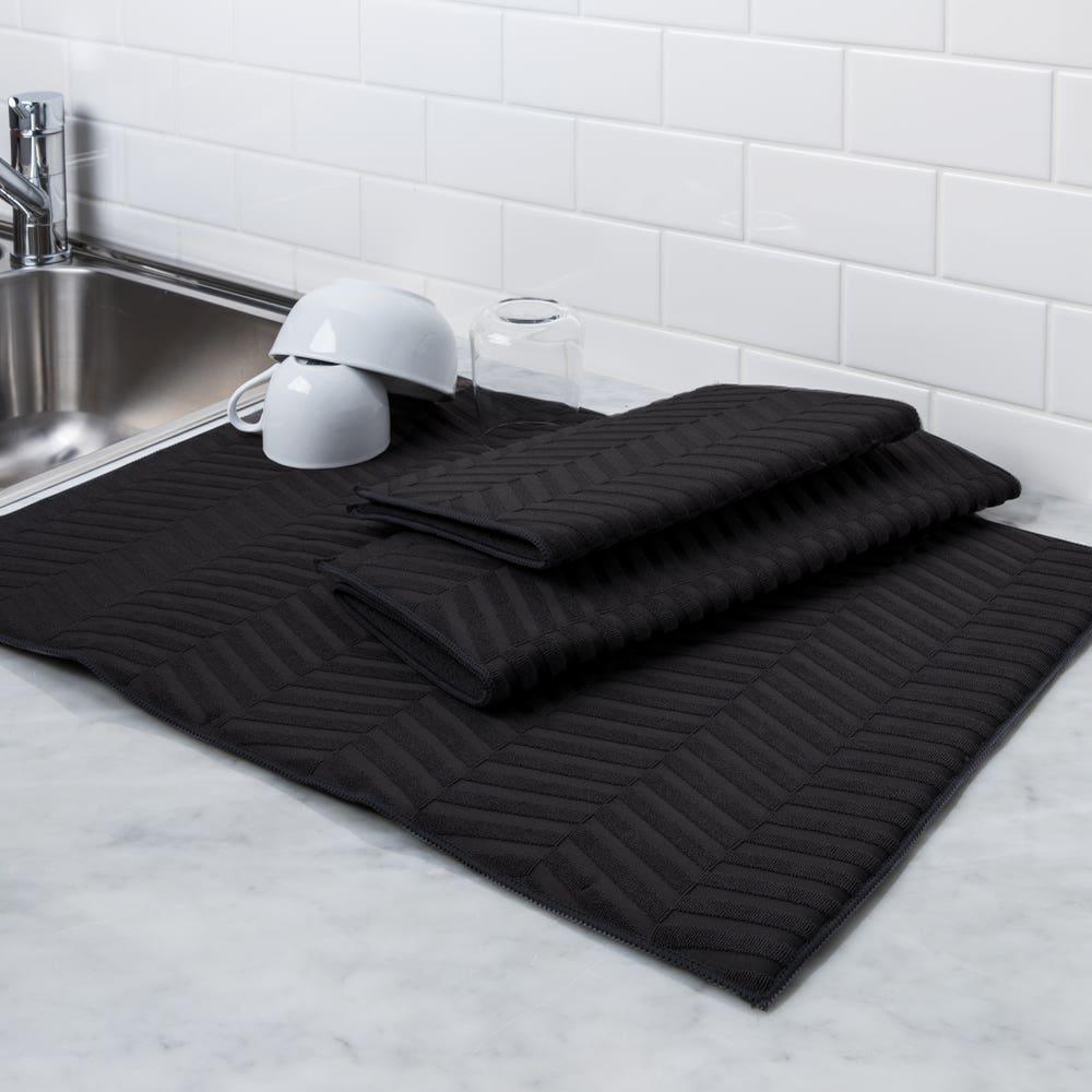 Harman Well Kept 'Sculpted' Dish Drying Mat - 3 Pc Set (Black)
