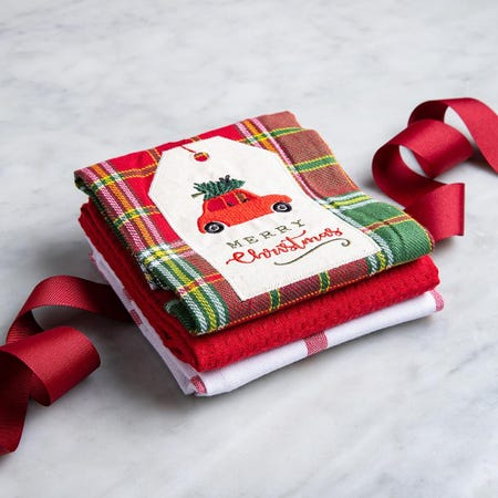 97306_Harman_Christmas_'Car'_Cotton_Kitchen_Towel___Set_of_3__Red