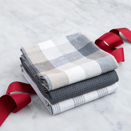 97310_Harman_Christmas_'Frosted_Check'_Cotton_Kitchen_Towel___Set_of_3