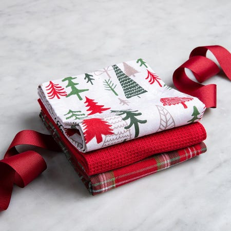 97314_Harman_Christmas_'Winter_Trees'_Cotton_Kitchen_Towel___Set_of_3__Red