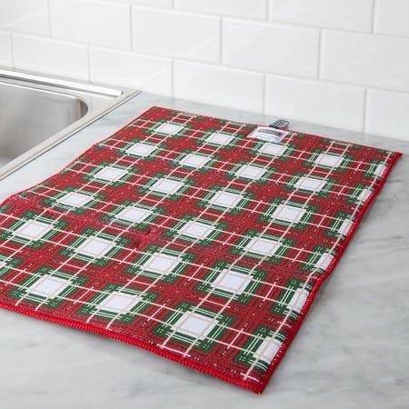 97322_Harman_Christmas_'Christmas_Check'_Microfibre_Dish_Drying_Mat__Red