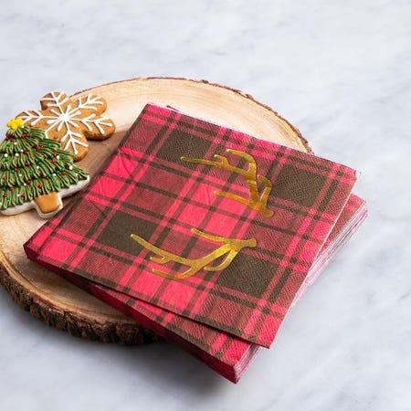 97332_Harman_Christmas_3_Ply_'Lodge_Plaid'_Paper_Napkin__Red