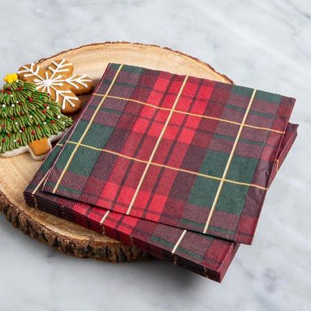 97335_Harman_Christmas_3_Ply_'Traditional_Check'_Paper_Napkin