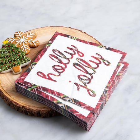 97336_Harman_Christmas_3_Ply_'Holly_Jolly'_Paper_Napkin__Red