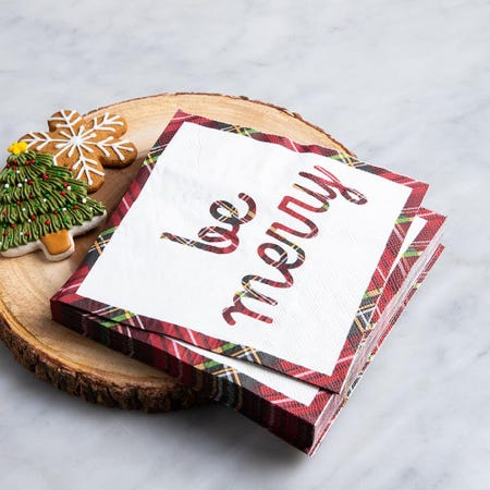97337_Harman_Christmas_3_Ply_'Be_Merry'_Paper_Napkin__Red