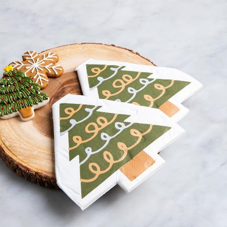 97342_Harman_Christmas_3_Ply_'Tree_Shaped'_Paper_Napkin__Green