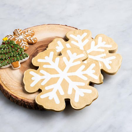 97343_Harman_Christmas_3_Ply_'Snow_Flake_Shaped'_Paper_Napkin__Gold