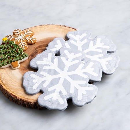 97345_Harman_Christmas_3_Ply_'Snow_Flake_Shaped'_Paper_Napkin__Silver