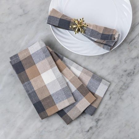 97393_Harman_Christmas_Frosted_Check_Cotton_Poly_Napkin___Set_of_4
