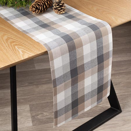 97394_Harman_Christmas_Frosted_Check_Cotton_Poly_Table_Runner__Multi_Colour