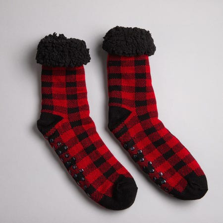 97600_Harman_Kozie_Super_Plush_'Buffalo_Check'_Lounge_Socks__Red_Black