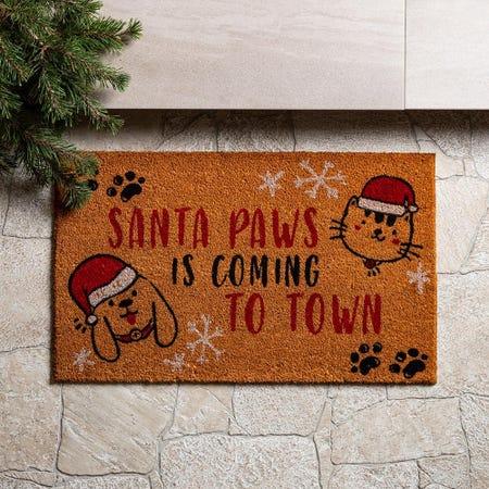 97624_KSP_Christmascoir_'Santa_Paws'_Coir_Doormat__Red_Black