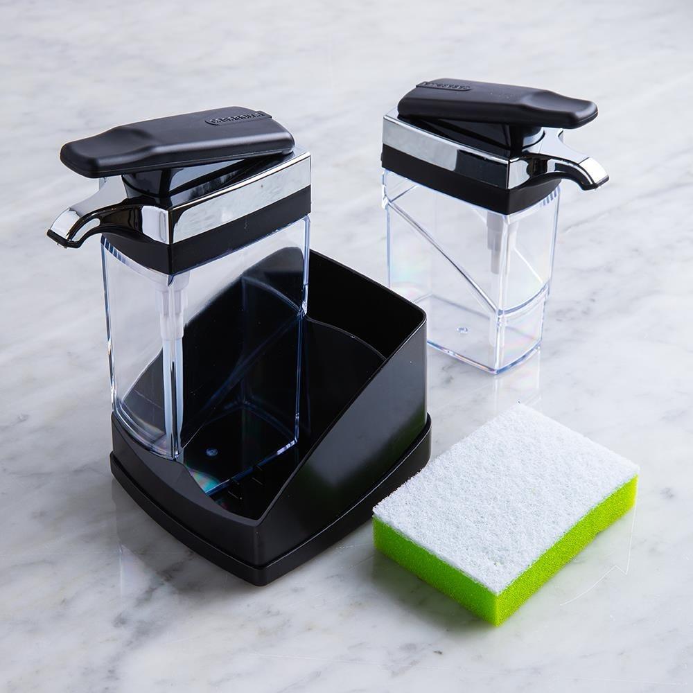 97662_Casabella_Sink_Sider_Duo_Soap_Dispenser_with_Sponge__Black_Chrome