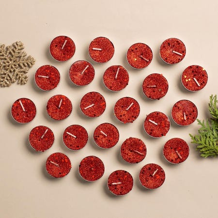 97736_KSP_Christmas_Glitter_Tealight_Candle___Set_of_24__Red