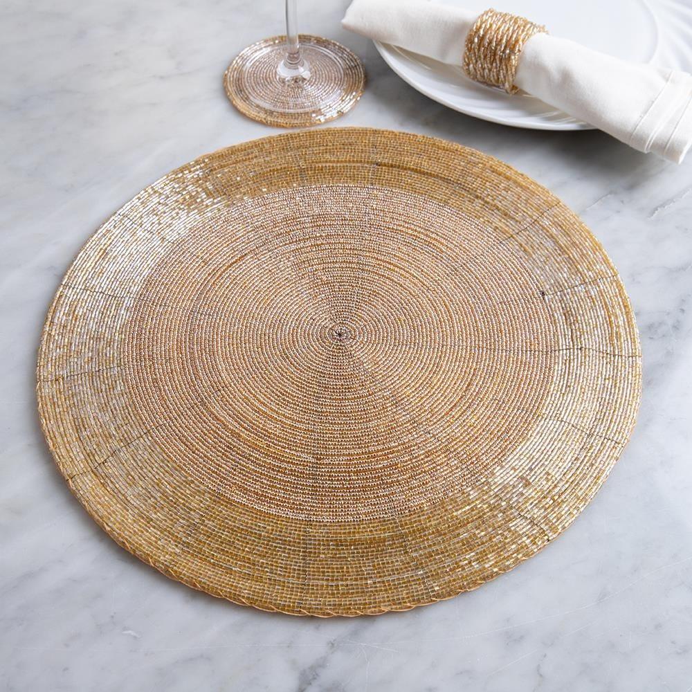 Ksp Glitz Beaded Placemat Round Champagne Gold Kitchen Stuff Plus
