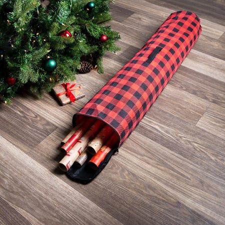 97801_KSP_Christmas_Buffalo_Check_Fabric_Gift_Wrap_Storage_Bag__Black_Red