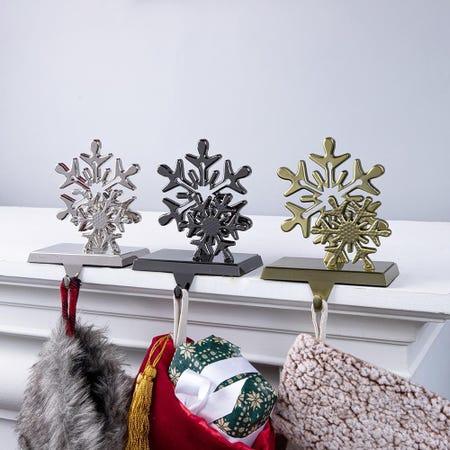 97836_KSP_Christmas_Mantel_Duo_'Snowflake'_Stocking_Holder__Antique_Bronze