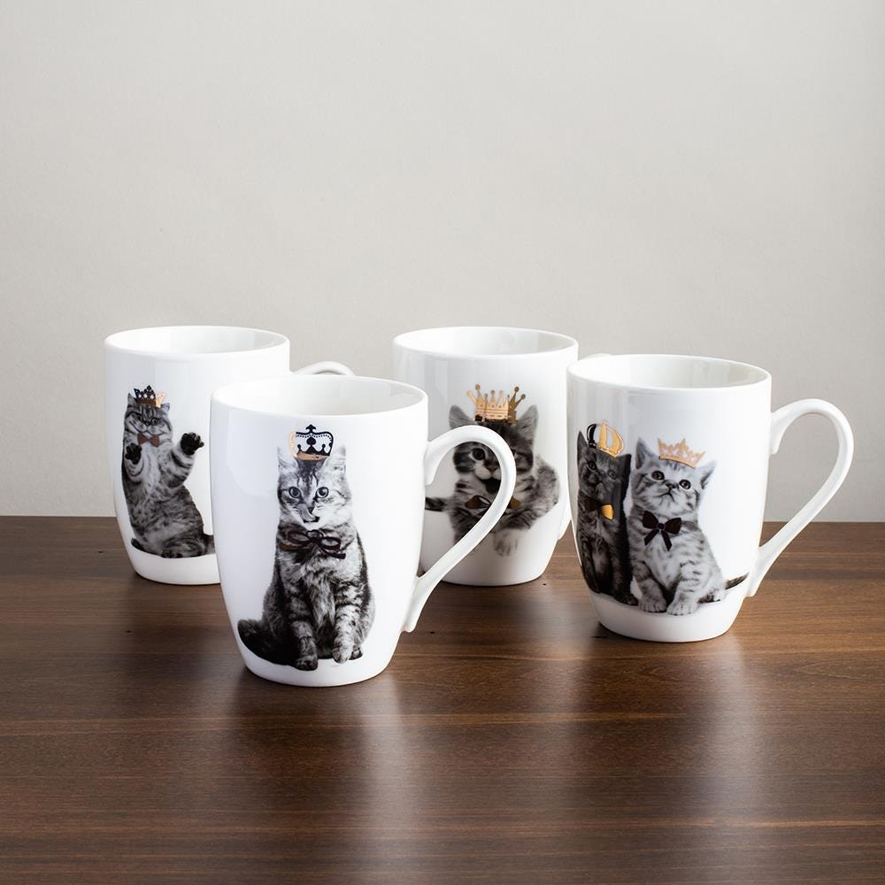 98095_KSP_Graphic_'Royal_Cat'_Mug___Set_of_4__Black_White_Gold