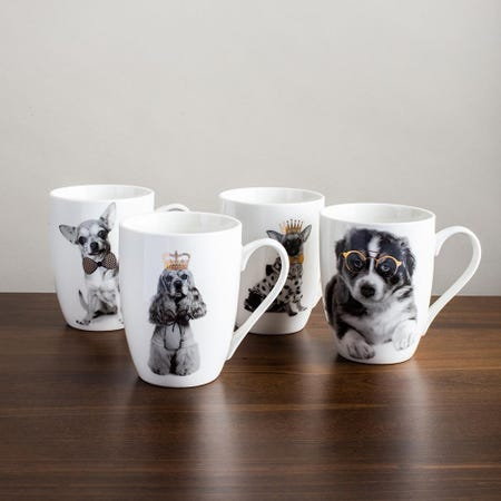 98096_KSP_Graphic_'Royal_Dog'_Mug___Set_of_4__Black_White_Gold
