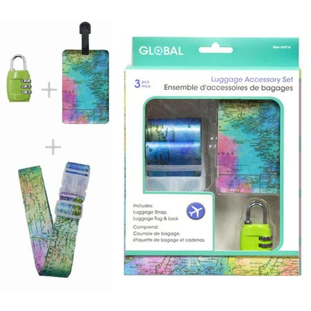 98353_Global_Travel_'Map'_Luggage_Accessory_Set___Set_of_3__Multi_Colour